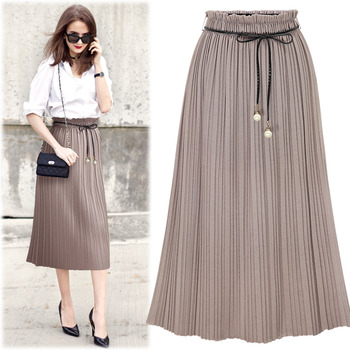 #BSK15165Pearl Point Belt Pleats Skirt