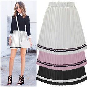 BSK13461Stripe Point Pleats Skirt
